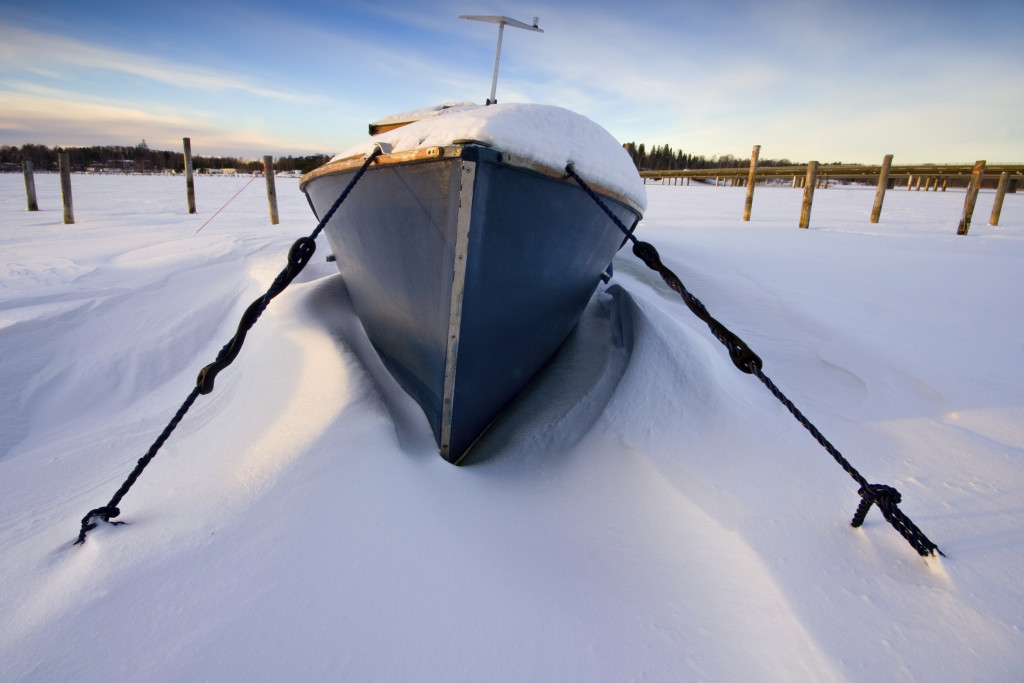 The boat in snow